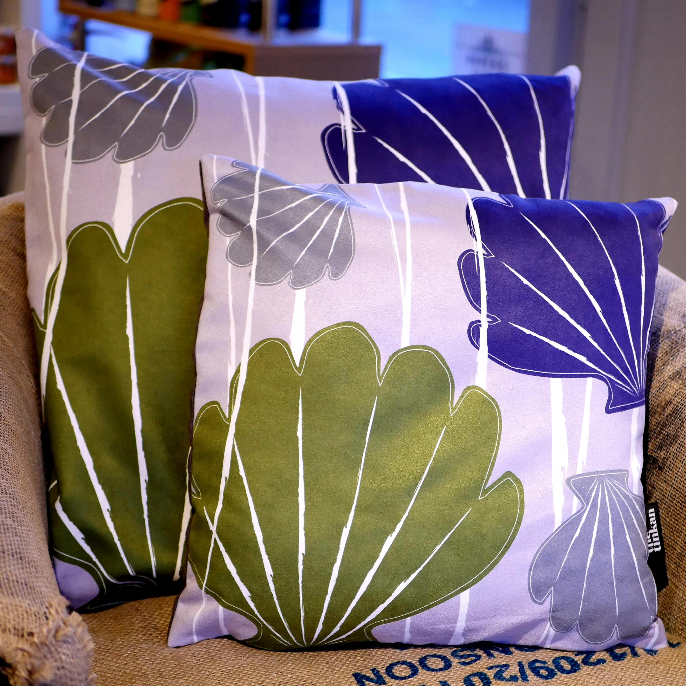 Purple, olive green & grey faux suede soft feel Abstract Shells Cushions, 43cm & 57cm square, with luxury inner pads designed by thetinkan. VIEW PRODUCT >>