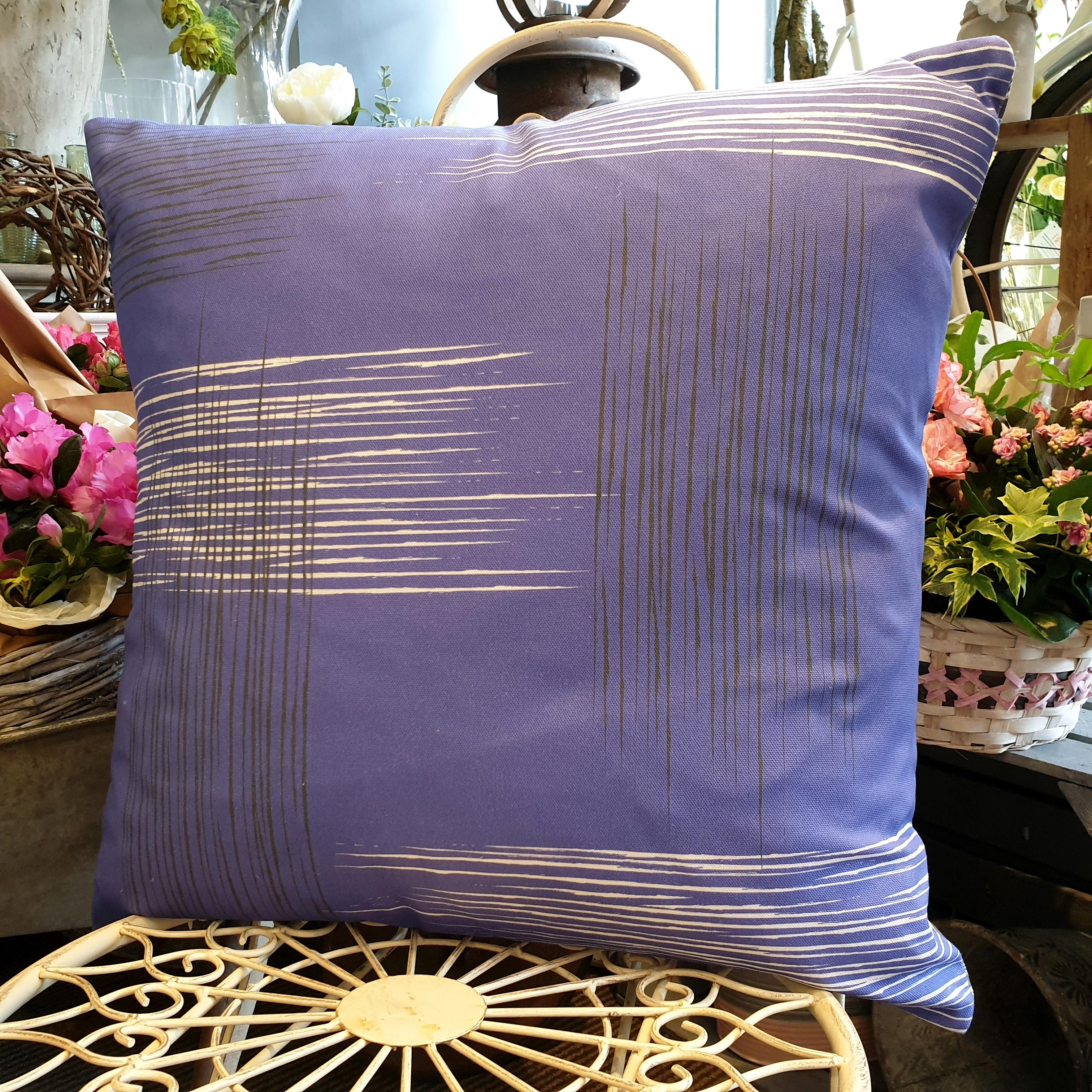 Double-sided violet purple 51cm square retro themed cushion with artistic grey and white shards designed by thetinkan. Available with an optional luxury cushion inner pad. VIEW PRODUCT >>