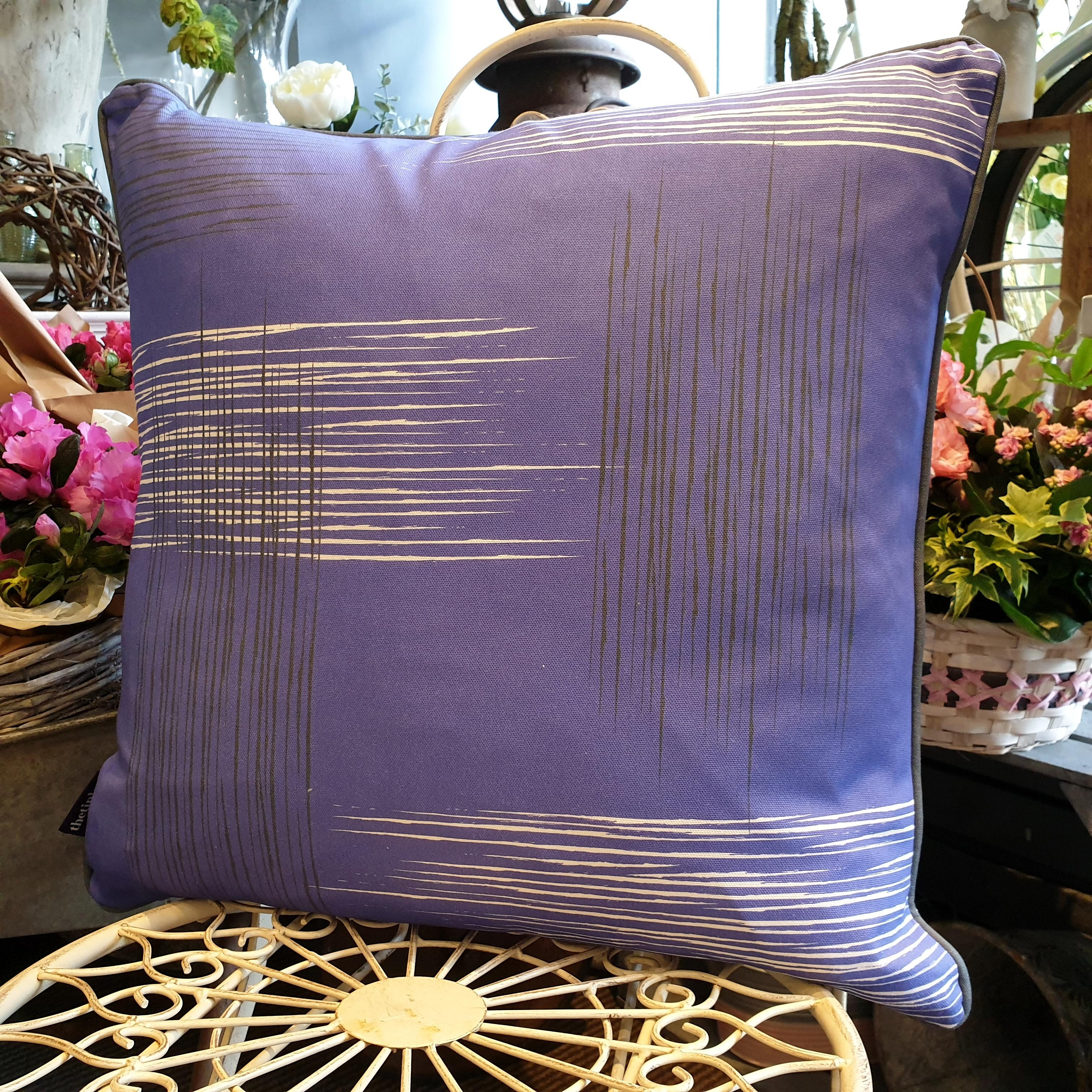 Double-sided violet purple 51cm square retro themed cushion with artistic grey and white shards and grey handcrafted piping designed by thetinkan. Available with an optional luxury cushion inner pad. VIEW PRODUCT >>