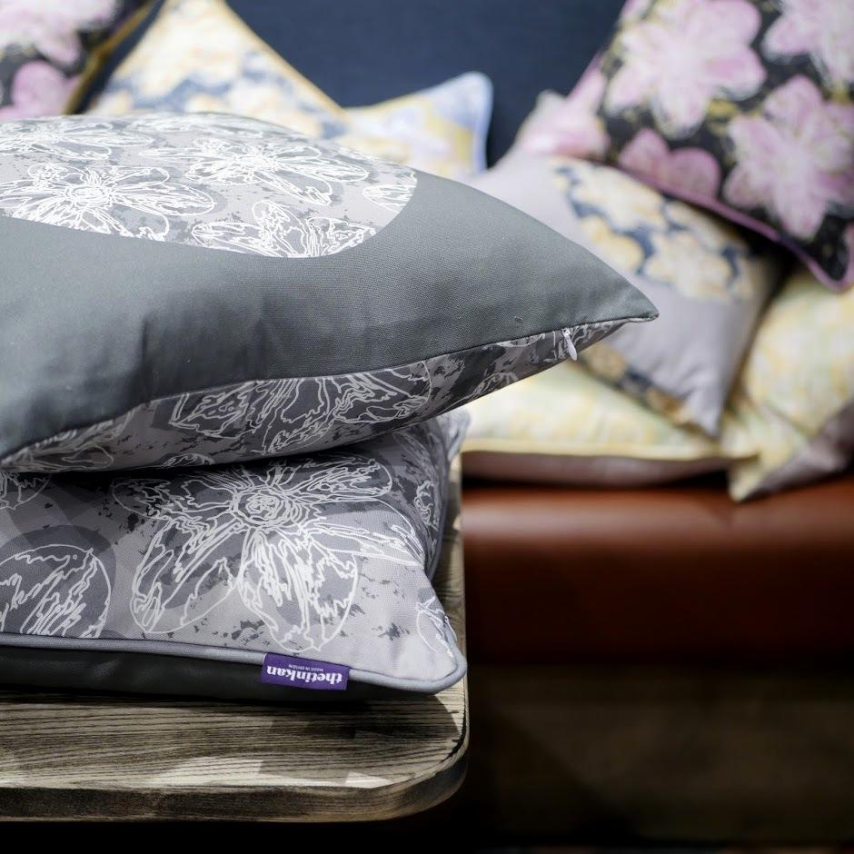 Double-sided 51cm square Flower Splash cushions designed by thetinkan. Six colour designs to choose from. Available in 45cm and 51cm sizes, piped and unpiped that complement each other perfectly. Available with an optional luxury cushion inner pads. VIEW PRODUCT >>
