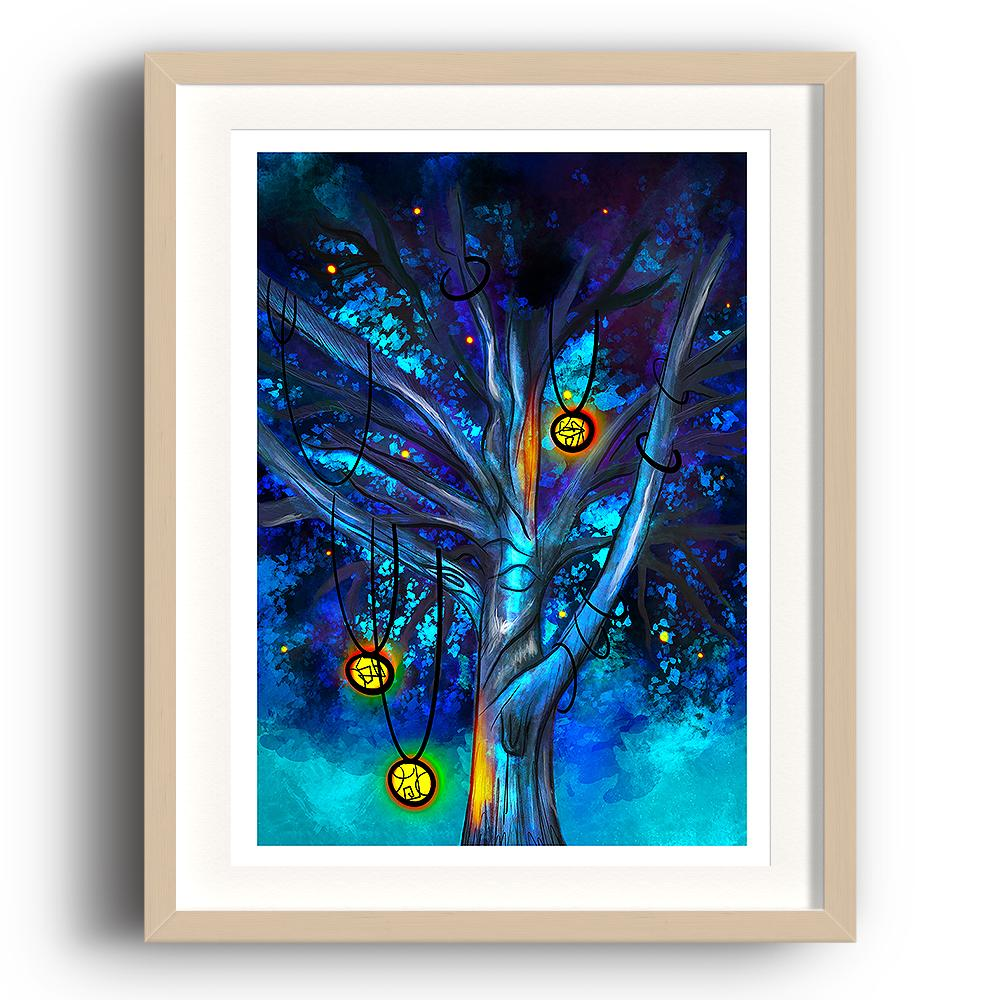 A digital painting called Cildhād Treeby Lily Bourne. Cildhād Tree is old English for Childhood Tree. The digital painting showing the branches of a mystical tree with lit lanterns hanging from the branches with a blue sky. The image is set in a beech coloured picture frame.