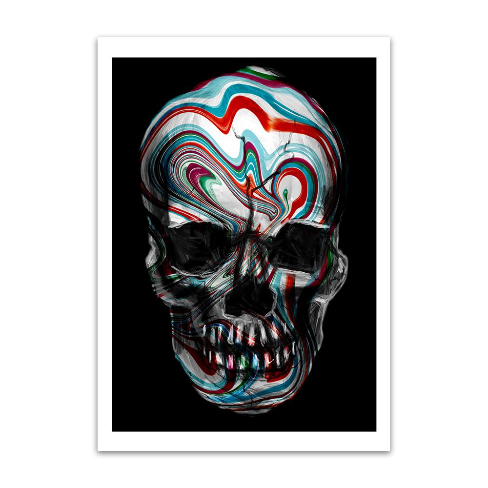A digital painting called Skull Swirl by Lily Bourne is a human skull with red and blue painted swirls across it.
