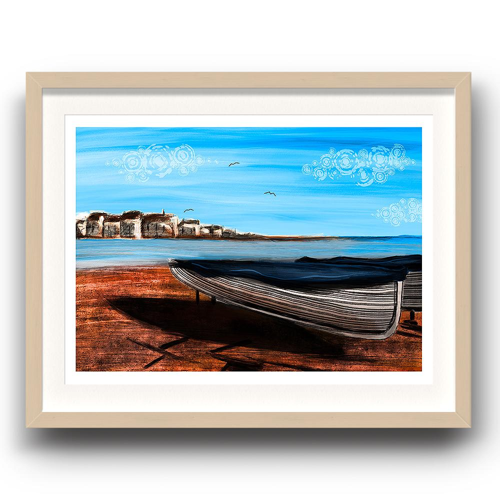 A digital painting called Shaldon Sands by Lily Bourne showing the red sands of Shaldon in Devon with a beached boat looking across the estuary to Teignmouth. The image is set in a beech coloured picture frame.