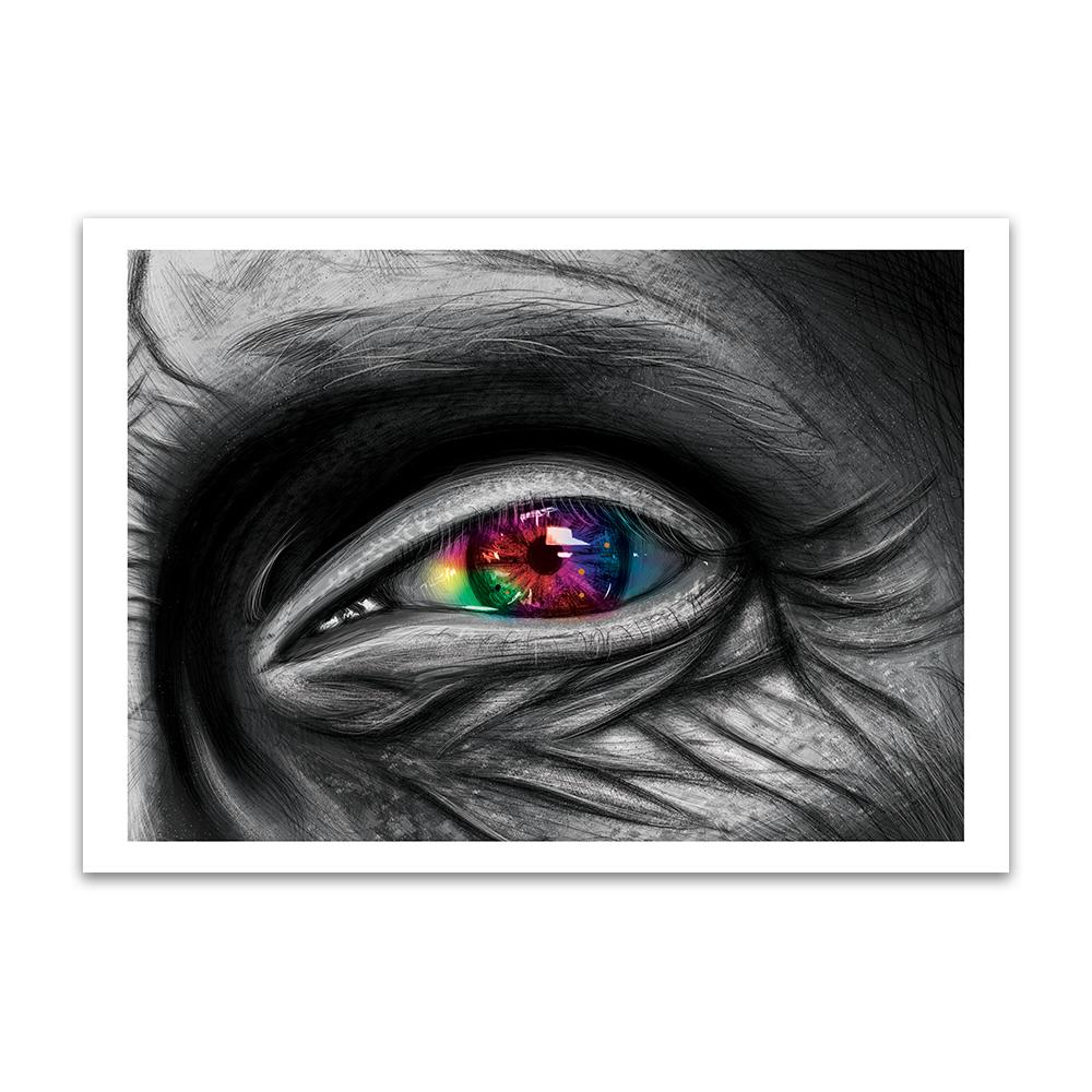 A digital painting called Rainbow Visions by Lily Bourne showing a close up of an elderly persons eye with the wrinkled skin around it in grey. The iris is rainbow coloured.