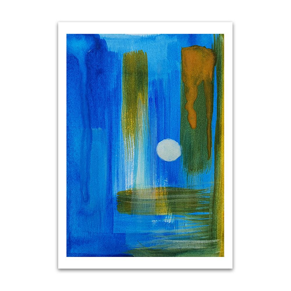 A watercolour print by Clarrie-Anne on eco fine art paper titled A Kinder Sea showing deep blue, green and yellow brushstrokes both vertical and horizontal giving depth to abstract painting.