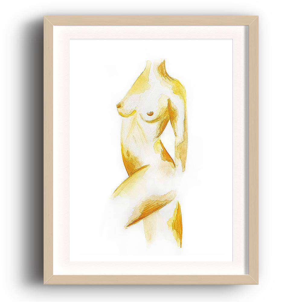 A watercolour print by Clarrie-Anne on eco fine art paper titled Freedom a naked female form painted in ochre. The image is set in a beech coloured picture frame.