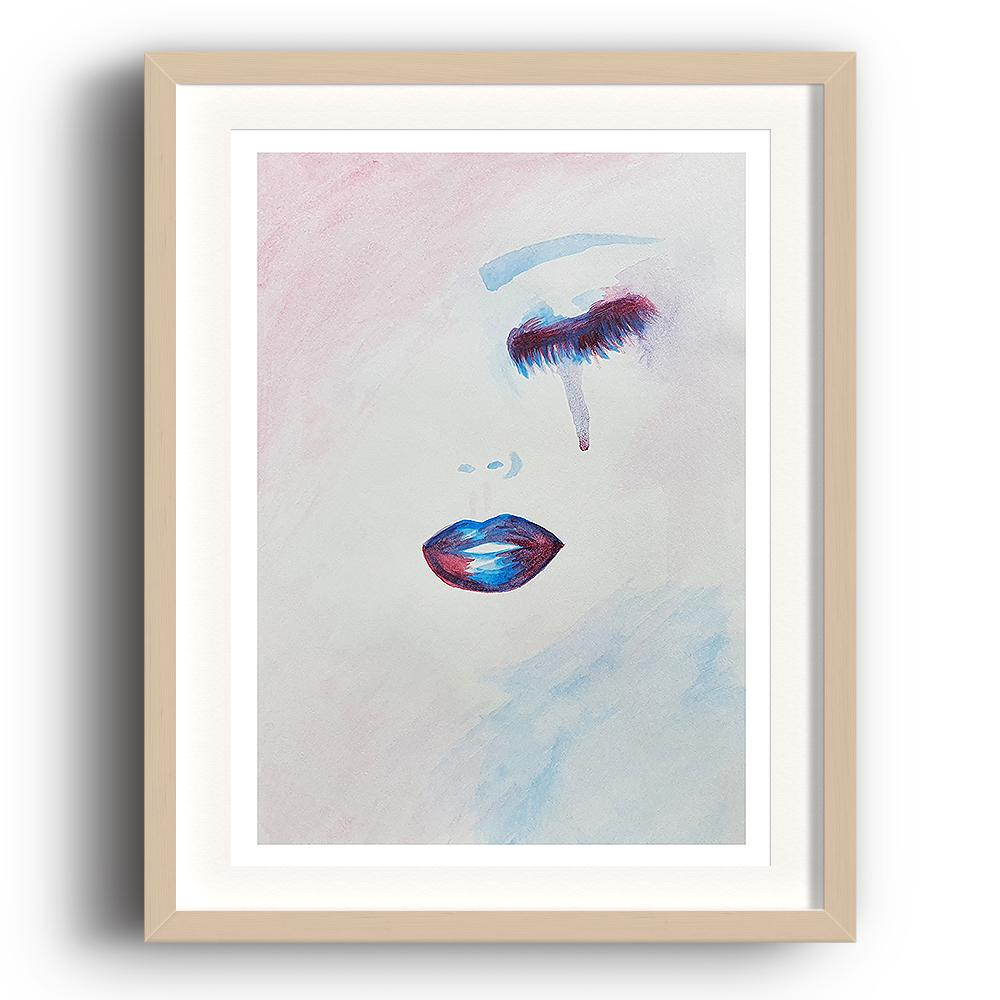 A watercolour print by Clarrie-Anne on eco fine art paper titled Lure showing a closed eye and lips of a female in purple and blue. A tear is falling from the eye. The image is set in a beech coloured picture frame.