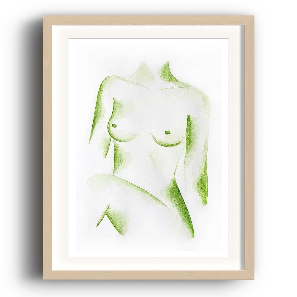 A watercolour print by Clarrie-Anne on eco fine art paper titled Poised showing the naked top half a female figure in green watercolour with a white background. The image is set in a beech coloured picture frame.
