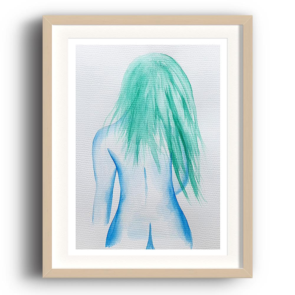 A watercolour print by Clarrie-Anne on eco fine art paper titled That Girl showing the rear of a naked blue lined female with green hair trailing down her back. The image is set in a beech coloured picture frame.