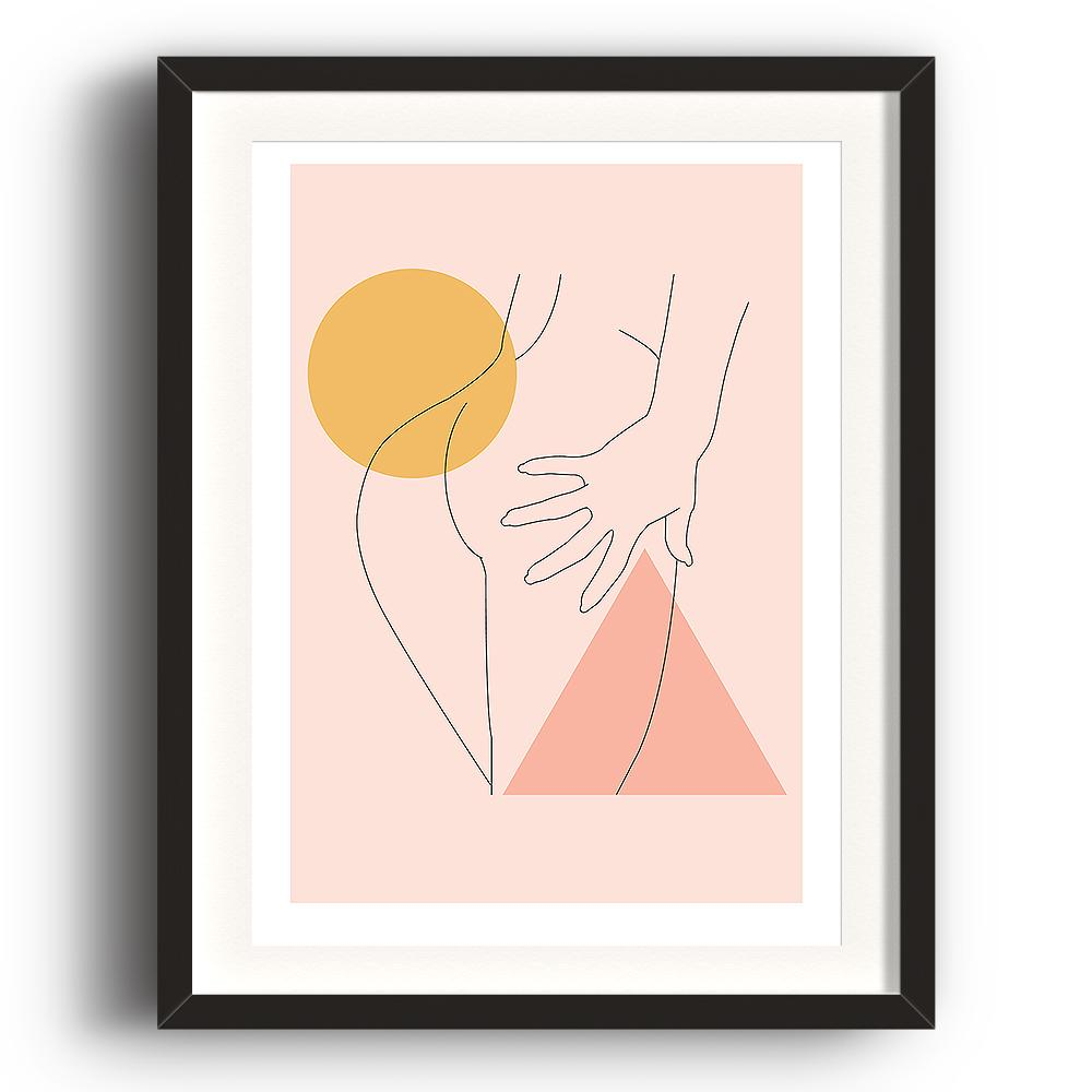 An abstract digital illustration print by Clarrie-Anne on eco fine art paper titled Double Tap showing the hand line drawn naked bottom of a femail on a peach background with triangle and square shapes added.  The image is set in a black coloured picture frame.