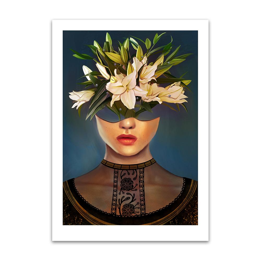 A digital painting by Lily Bourne printed on eco fine art paper titled Lilium showing a female head dressed in a black lace top. The head acts as a vase for white lily flowers.