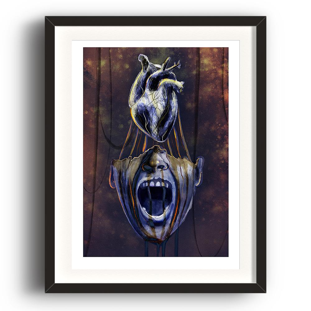 A digital painting by Lily Bourne printed on eco fine art paper titled Mind Of Midas showing an open mouth of King Midas with his heart above his head. The image is set in a black coloured picture frame.