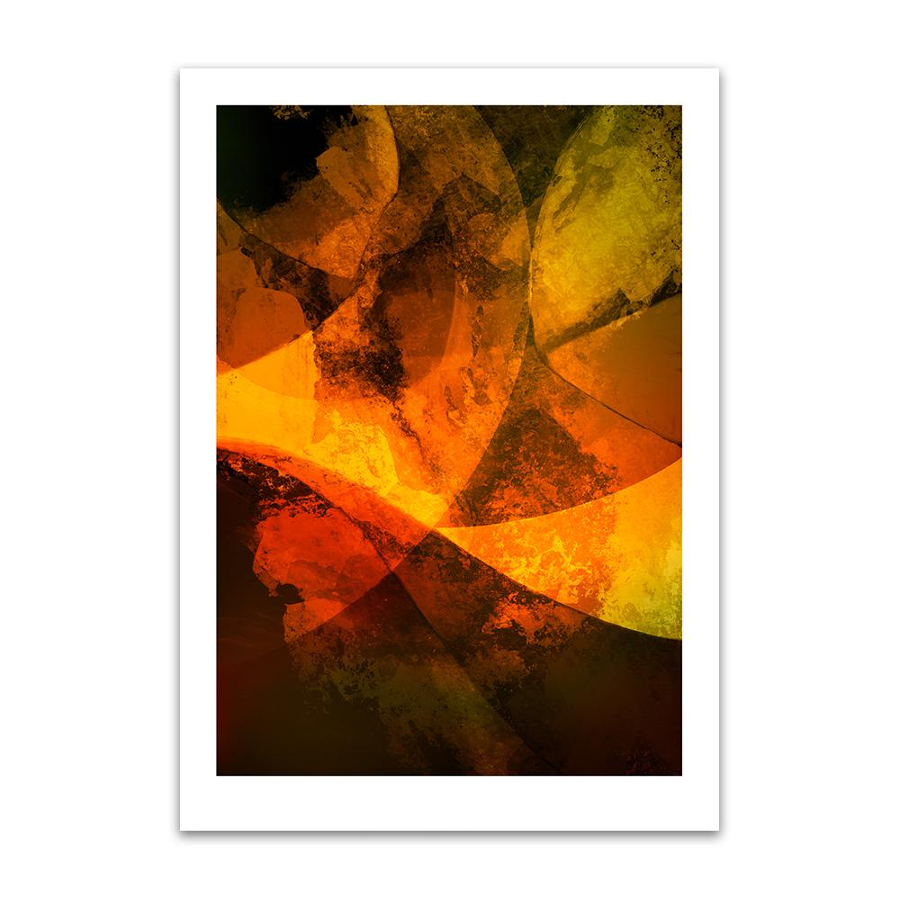 A digital painting by Lily Bourne printed on eco fine art paper titled Autumn Passion From Within showing a series of curved lines and textures coloured shade of orange and yellow.