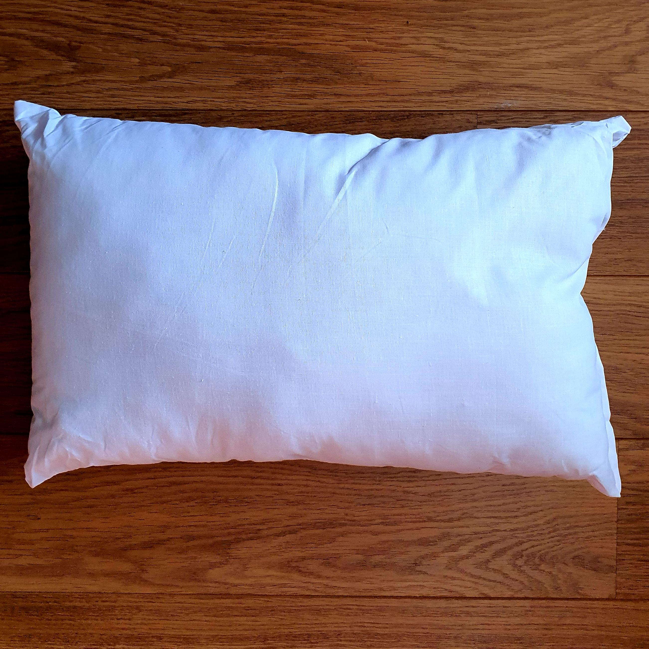 55cm x 35cm cushion inner pad generously filled with Eco-Hollowfibre made from recycled plastic bottles in white poly cotton outer cover.