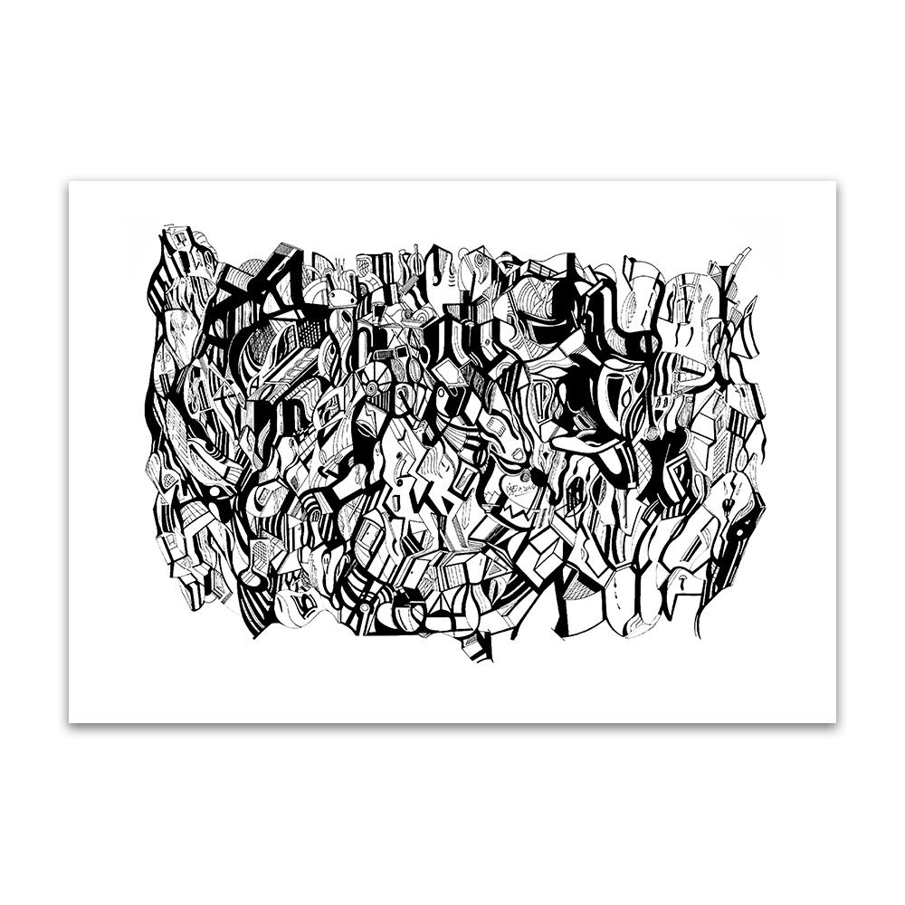 A fine art print from Jason Clarke titled Inky Depths drawn with a black Pentel pen. Dated 9/16.