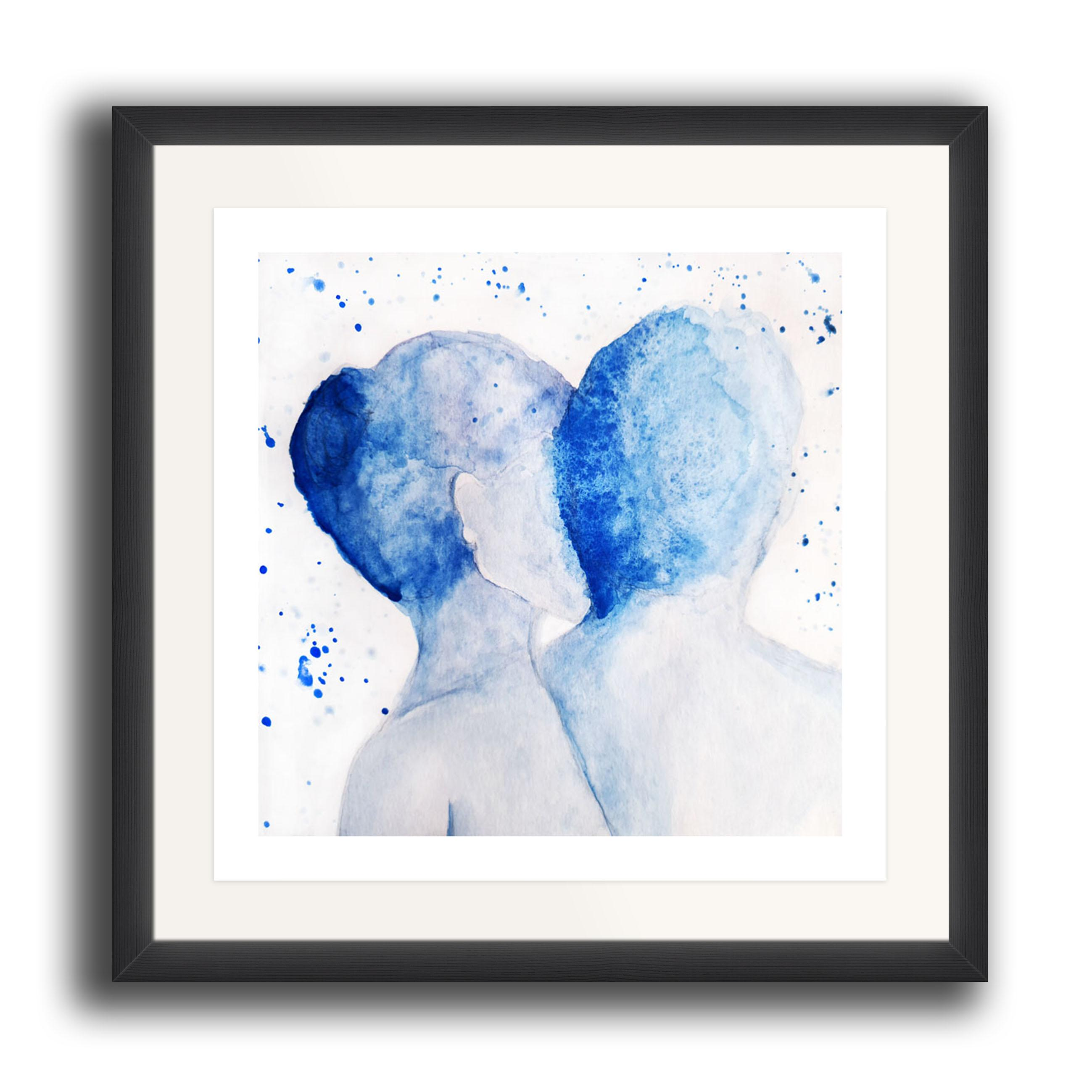 A square watercolour print by Clarrie-Anne on eco fine art paper titled Just Us showing a male and female facing away from the viewer in a partial embrace. The image is set in a black coloured picture frame.
