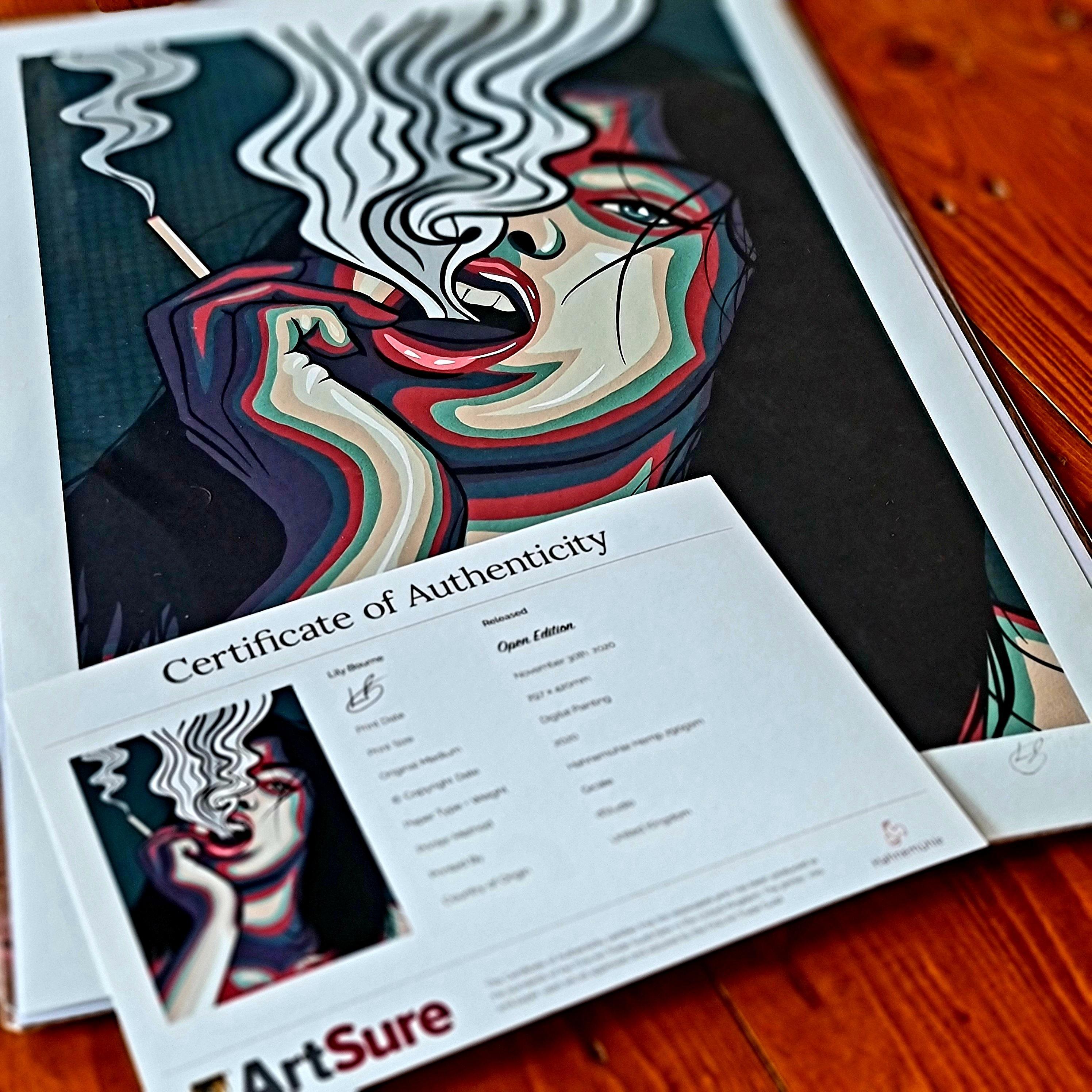A digital pop art painting by Lily Bourne printed on eco fine art paper titled Release showing showing a female exhale smoke from a cigarette which is holding. Print shown with certificate.