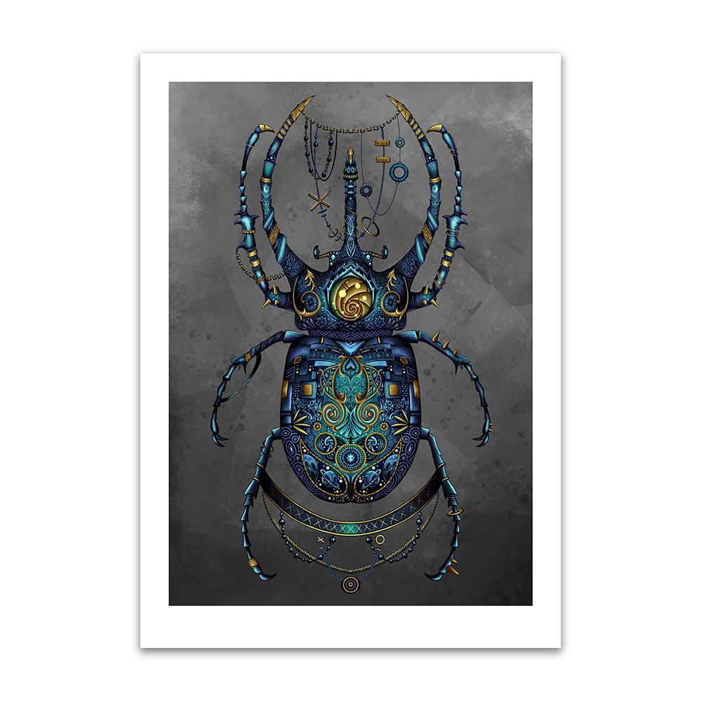A digital painting by Lily Bourne printed on eco fine art paper titled Beetle showing a jewel encrusted beetle coloured blue and turquoise with grey background in a steam punk style.