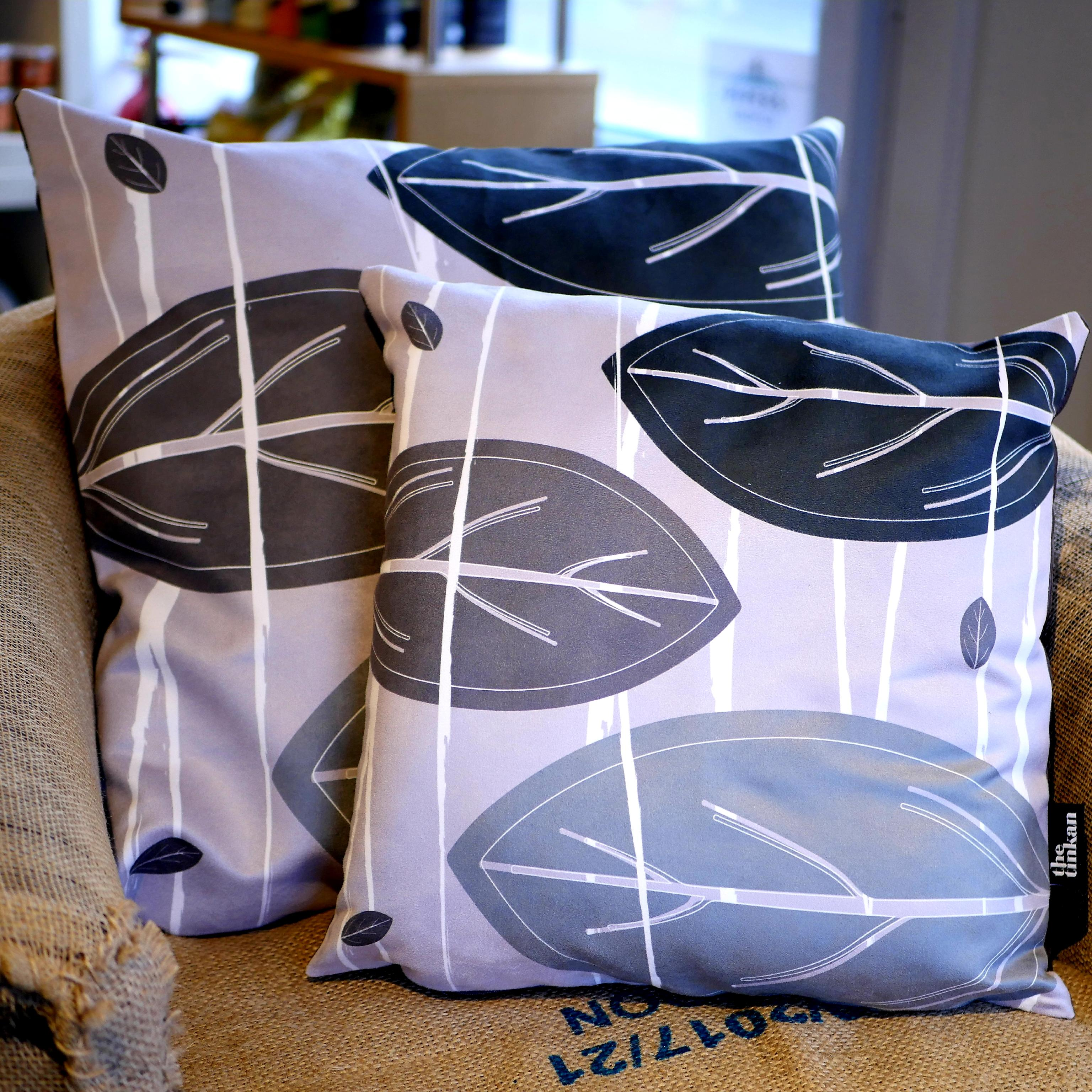 Black, charcoal grey & light grey faux suede soft feel Abstract Leaves Cushions, 43cm & 57cm square, with luxury inner pads designed by thetinkan. VIEW PRODUCT >>