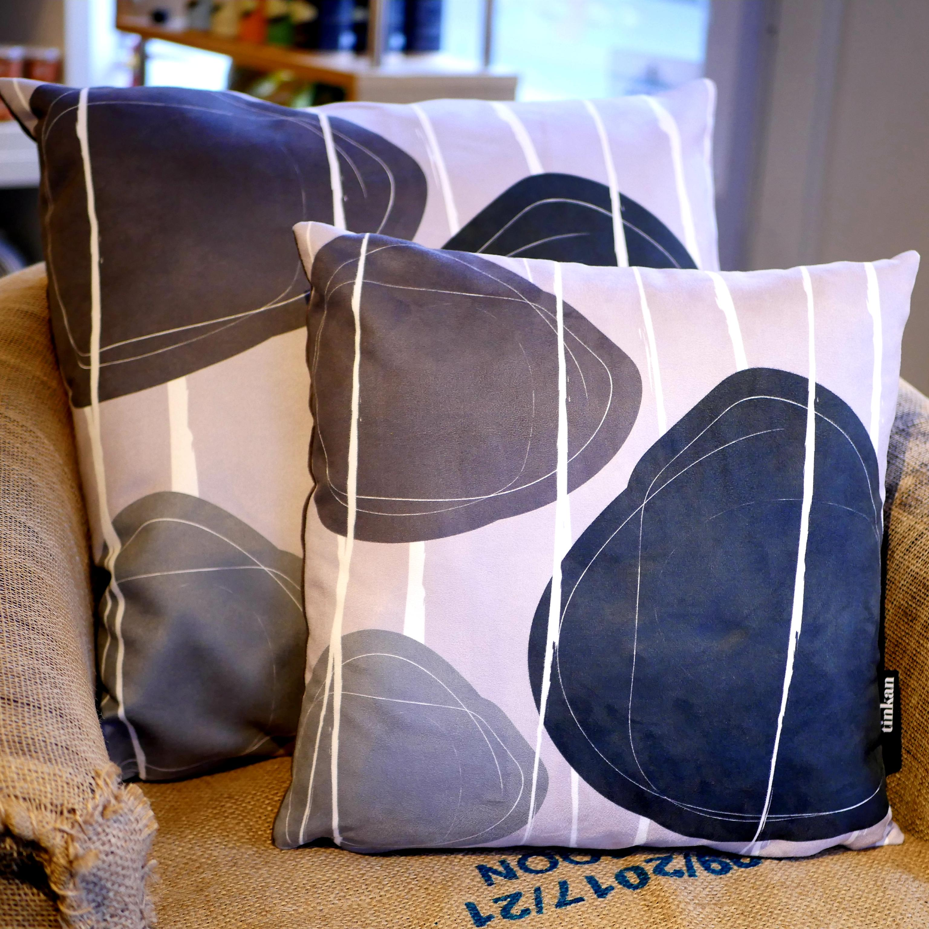 Black, charcoal grey & light grey faux suede soft feel Abstract Pebbles Cushions, 43cm & 57cm square, with luxury inner pads designed by thetinkan. VIEW PRODUCT >>