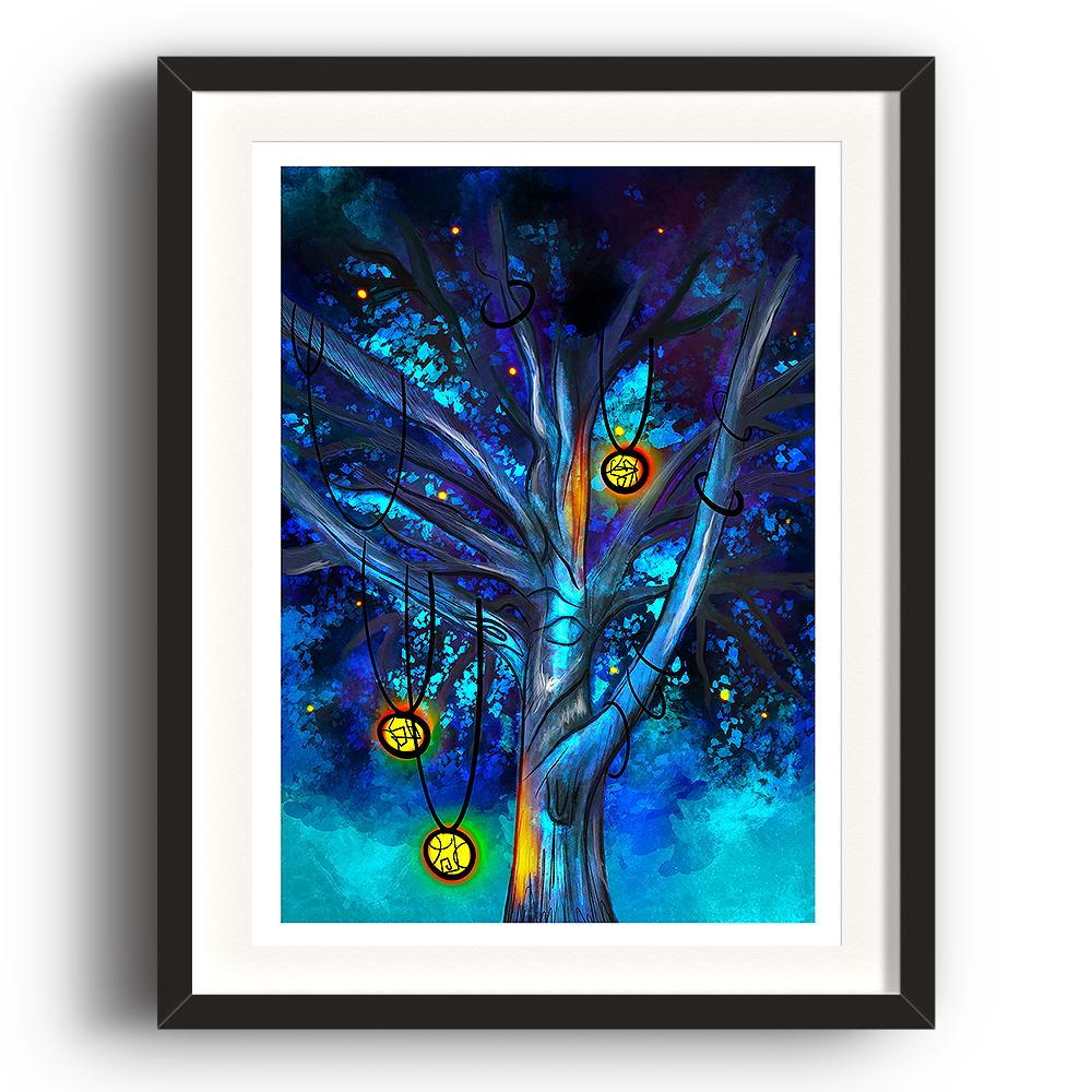 A digital painting called Cildhād Treeby Lily Bourne. Cildhād Tree is old English for Childhood Tree. The digital painting showing the branches of a mystical tree with lit lanterns hanging from the branches with a blue sky. The image is set in a black coloured picture frame.