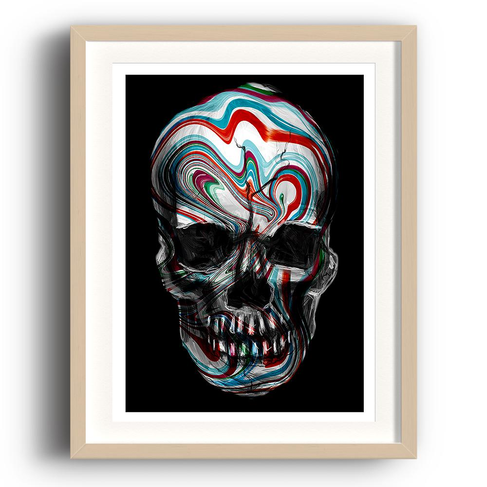 A digital painting called Skull Swirl by Lily Bourne is a human skull with red and blue painted swirls across it. The image is set in a beech coloured picture frame.