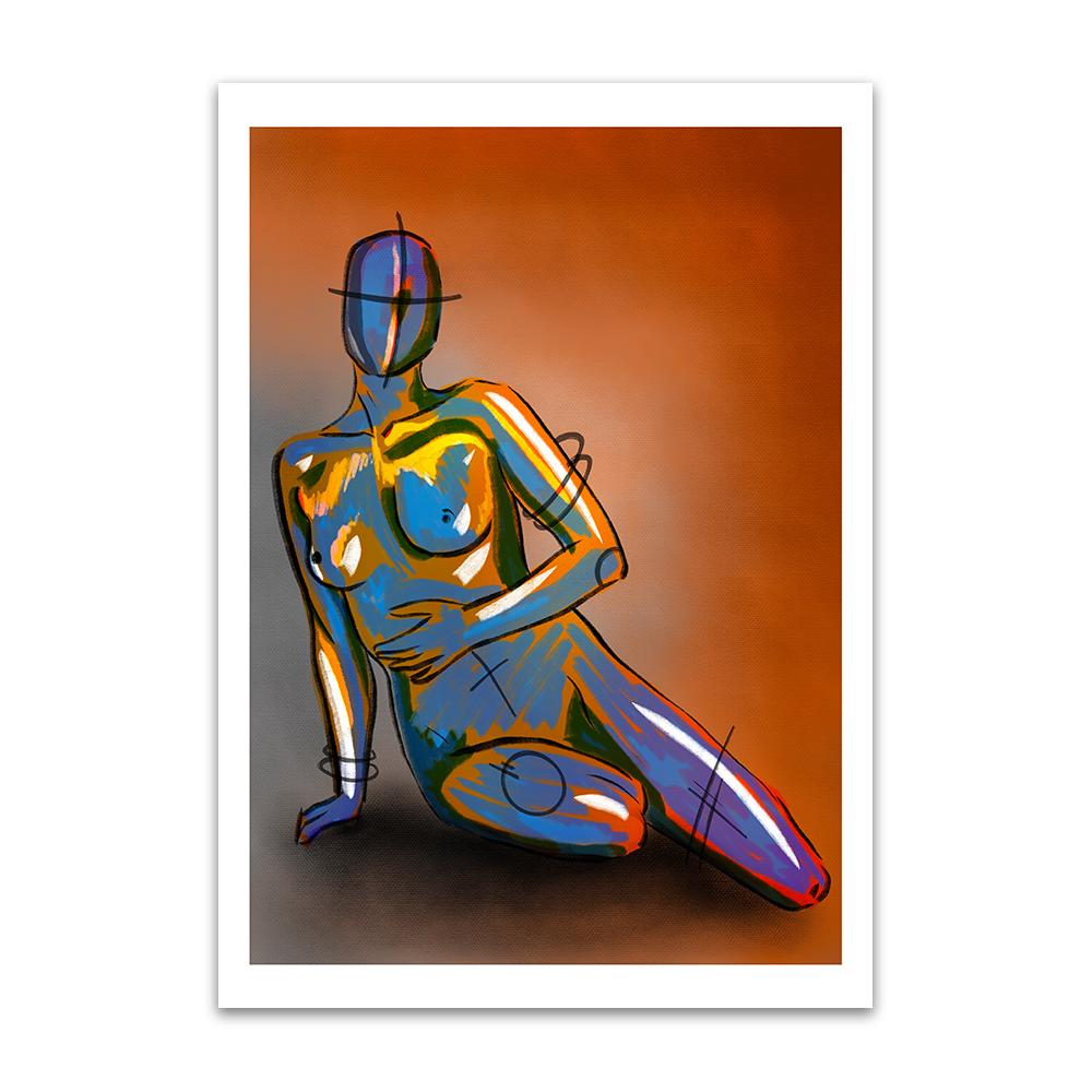 A digital painting called Naked Concept by Lily Bourne. A robotic figurine is sitting overlaid with yellow and lilac paint strokes. Orange and grey background.