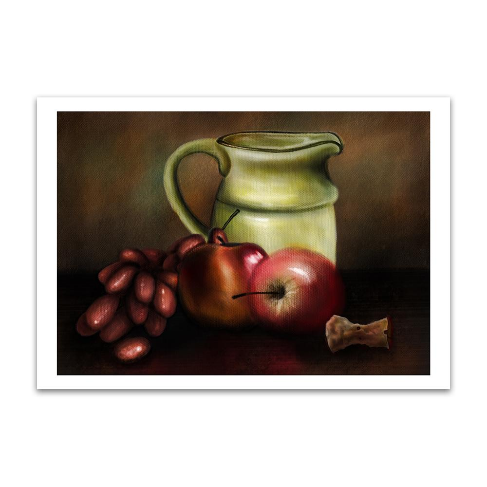A digital painting called Still Life 1.0 by Lily Bourne showing a jug, a bunch of grapes and apples set on a table with an apple core.