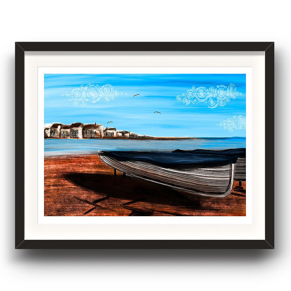 A digital painting called Shaldon Sands by Lily Bourne showing the red sands of Shaldon in Devon with a beached boat looking across the estuary to Teignmouth. The image is set in a black coloured picture frame.