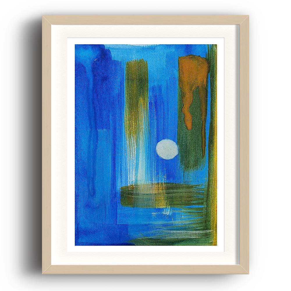 A watercolour print by Clarrie-Anne on eco fine art paper titled A Kinder Sea showing deep blue, green and yellow brushstrokes both vertical and horizontal giving depth to abstract painting. The image is set in a beech coloured picture frame.