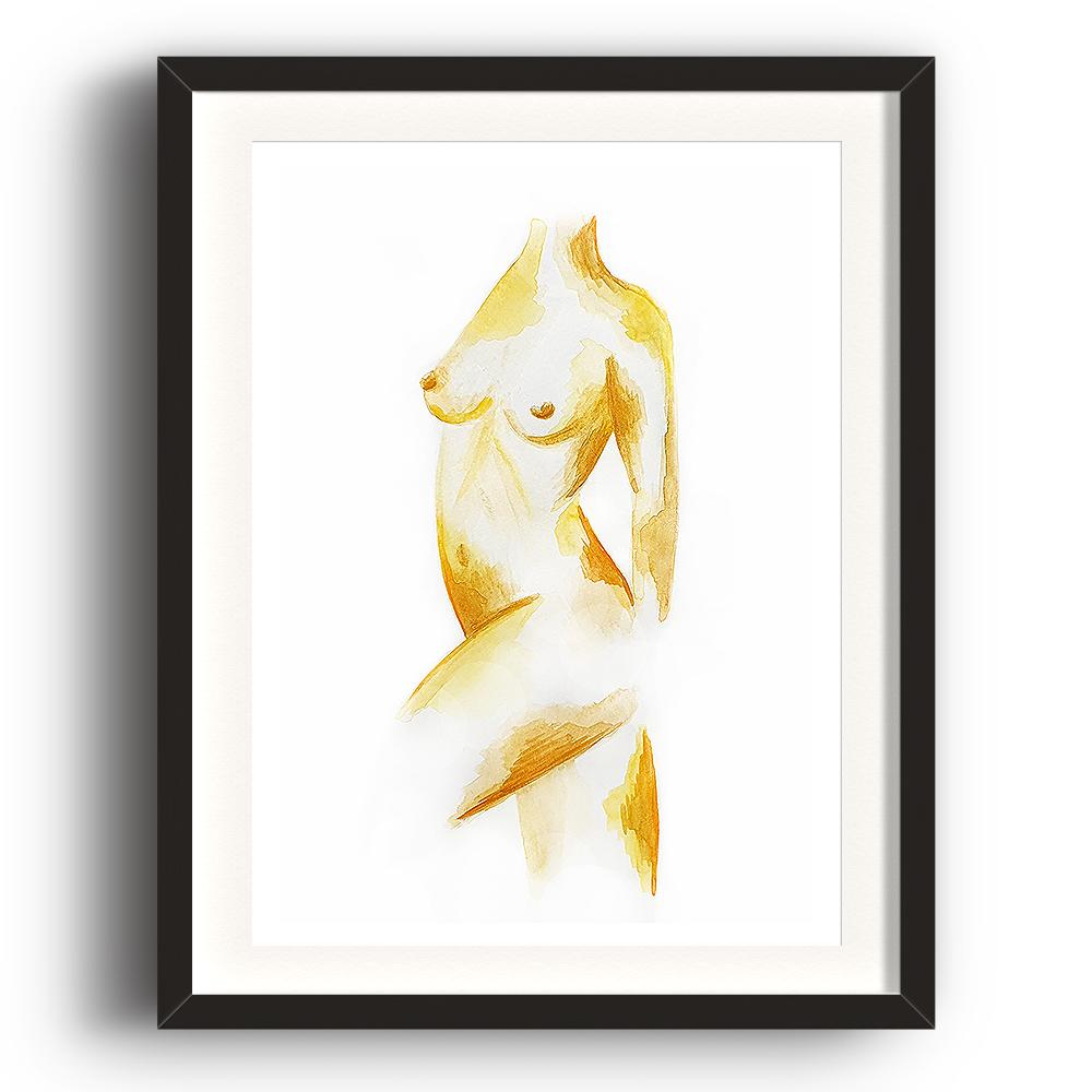 A watercolour print by Clarrie-Anne on eco fine art paper titled Freedom a naked female form painted in ochre. The image is set in a black coloured picture frame.