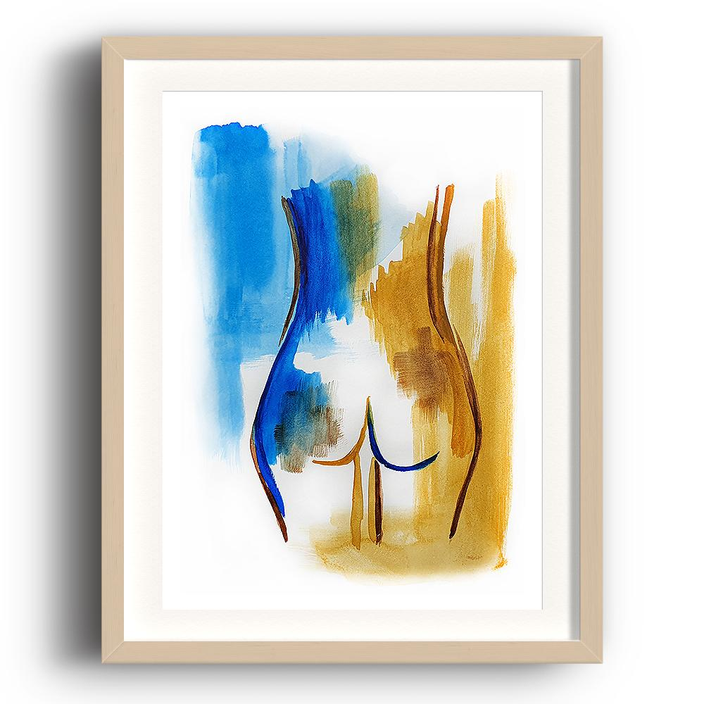 A watercolour print by Clarrie-Anne on eco fine art paper titled Innate showing the bottom of a female coloured blue and ochre. The image is set in a beech coloured picture frame.