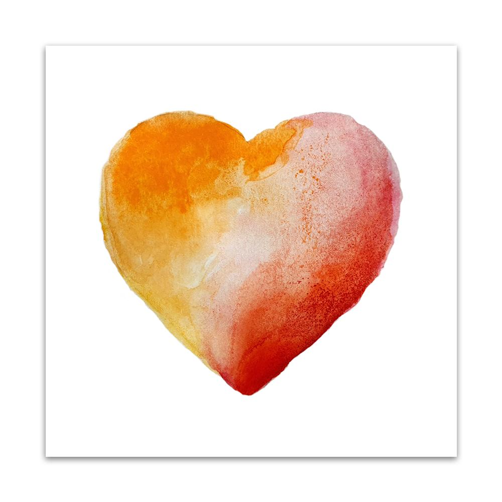 A watercolour print by Clarrie-Anne on eco fine art paper titled Warm Heart showing read and orange watercolour wash heart on a white background.