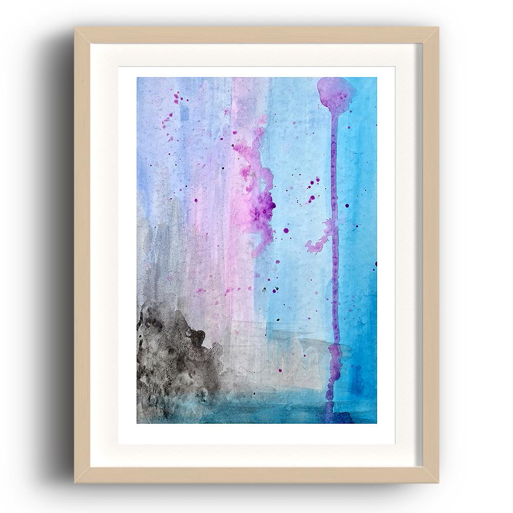 An abstract watercolour print by Clarrie-Anne on eco fine art paper titled Lilac Skies showing a lilac, blue and black themed watercolour interpretation of the sky as the colours run down the page. The image is set in a beech coloured picture frame.