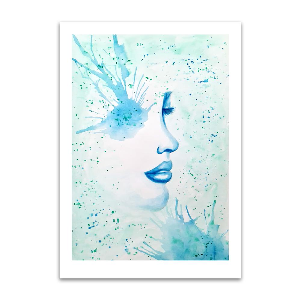 A watercolour print by Clarrie-Anne on eco fine art paper titled Surfacing showing a black watercolour outlined female face with a blue paint splattered eye and paint splatters across the picture.