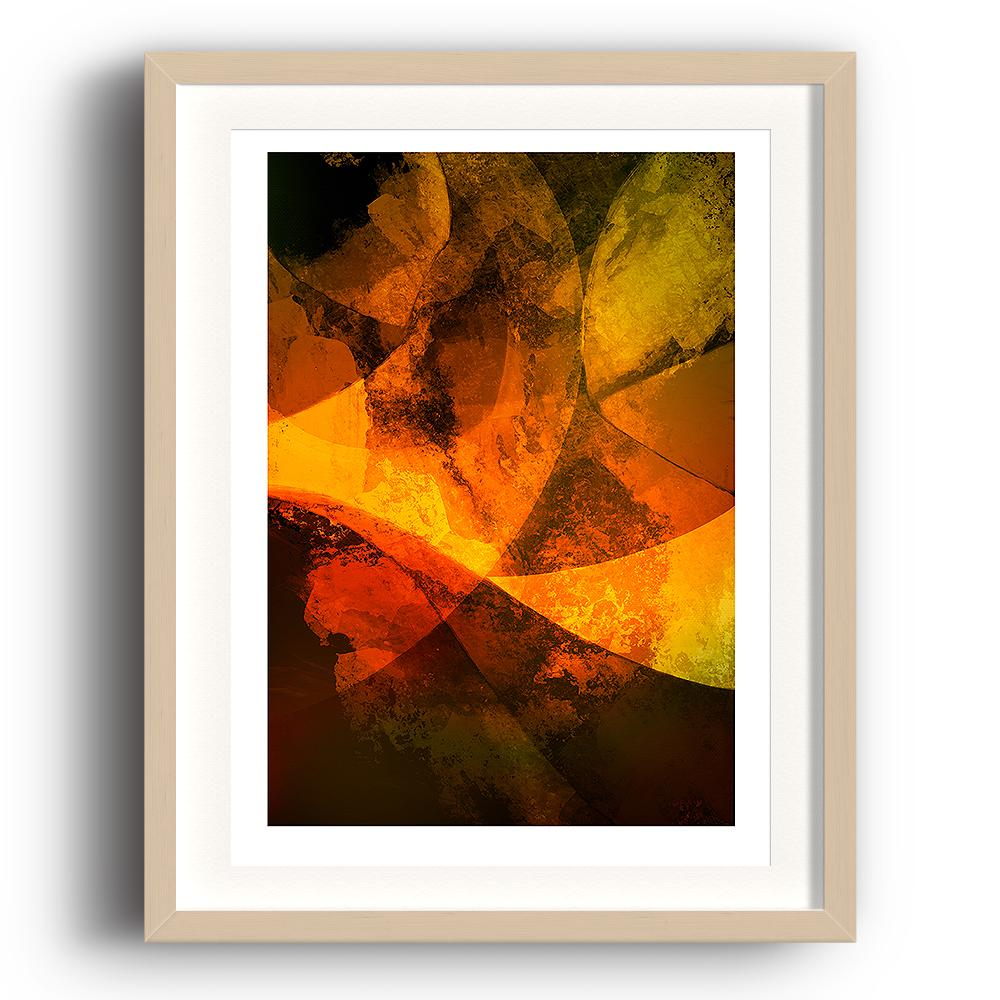 A digital painting by Lily Bourne printed on eco fine art paper titled Autumn Passion From Within showing a series of curved lines and textures coloured shade of orange and yellow. The image is set in a beech coloured picture frame.