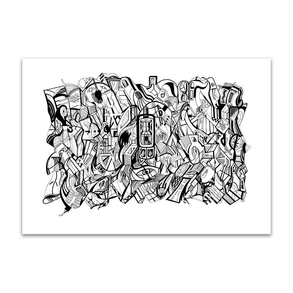 A fine art print from Jason Clarke titled Mobile drawn with a black Pentel pen.