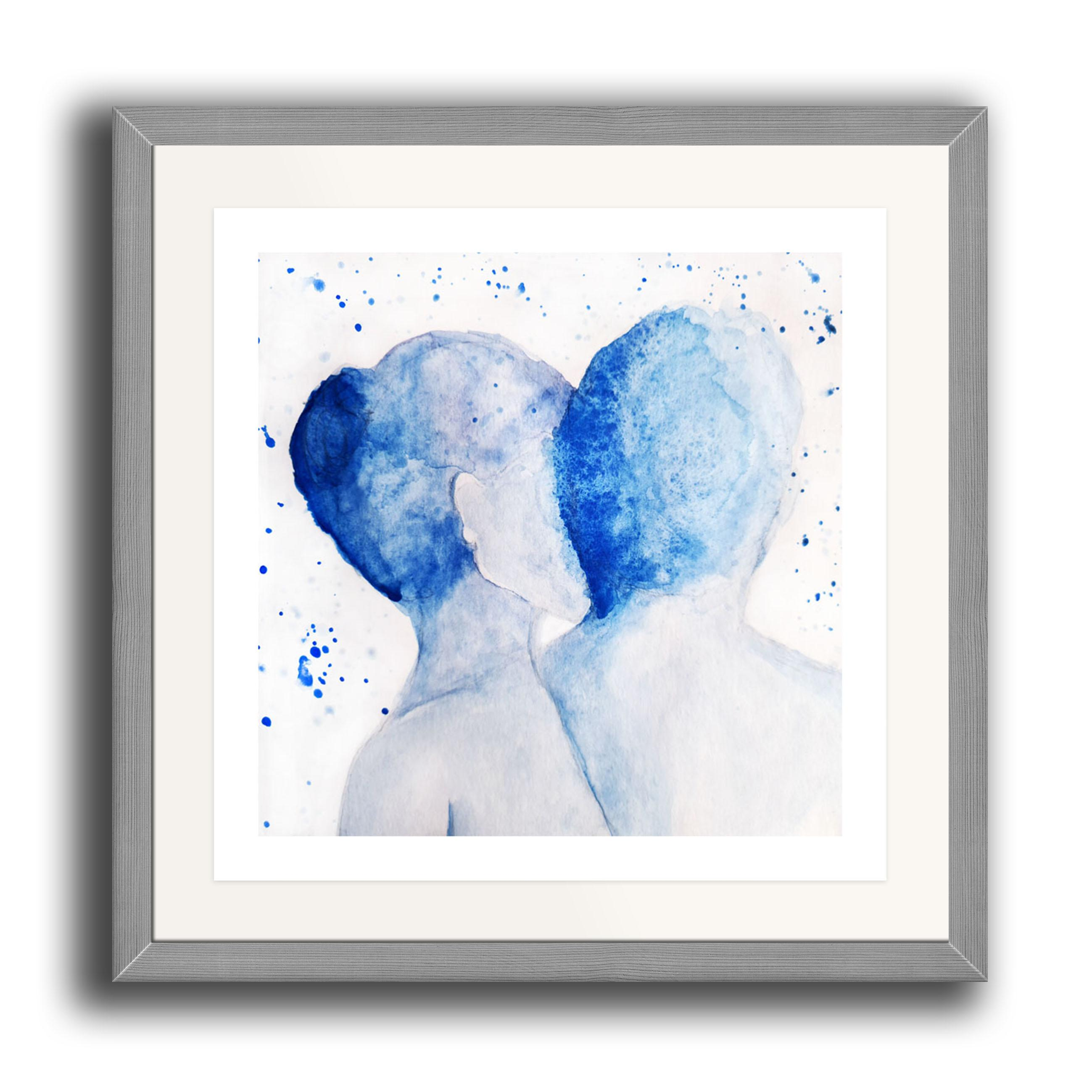 A square watercolour print by Clarrie-Anne on eco fine art paper titled Just Us showing a male and female facing away from the viewer in a partial embrace. The image is set in a grey coloured picture frame.