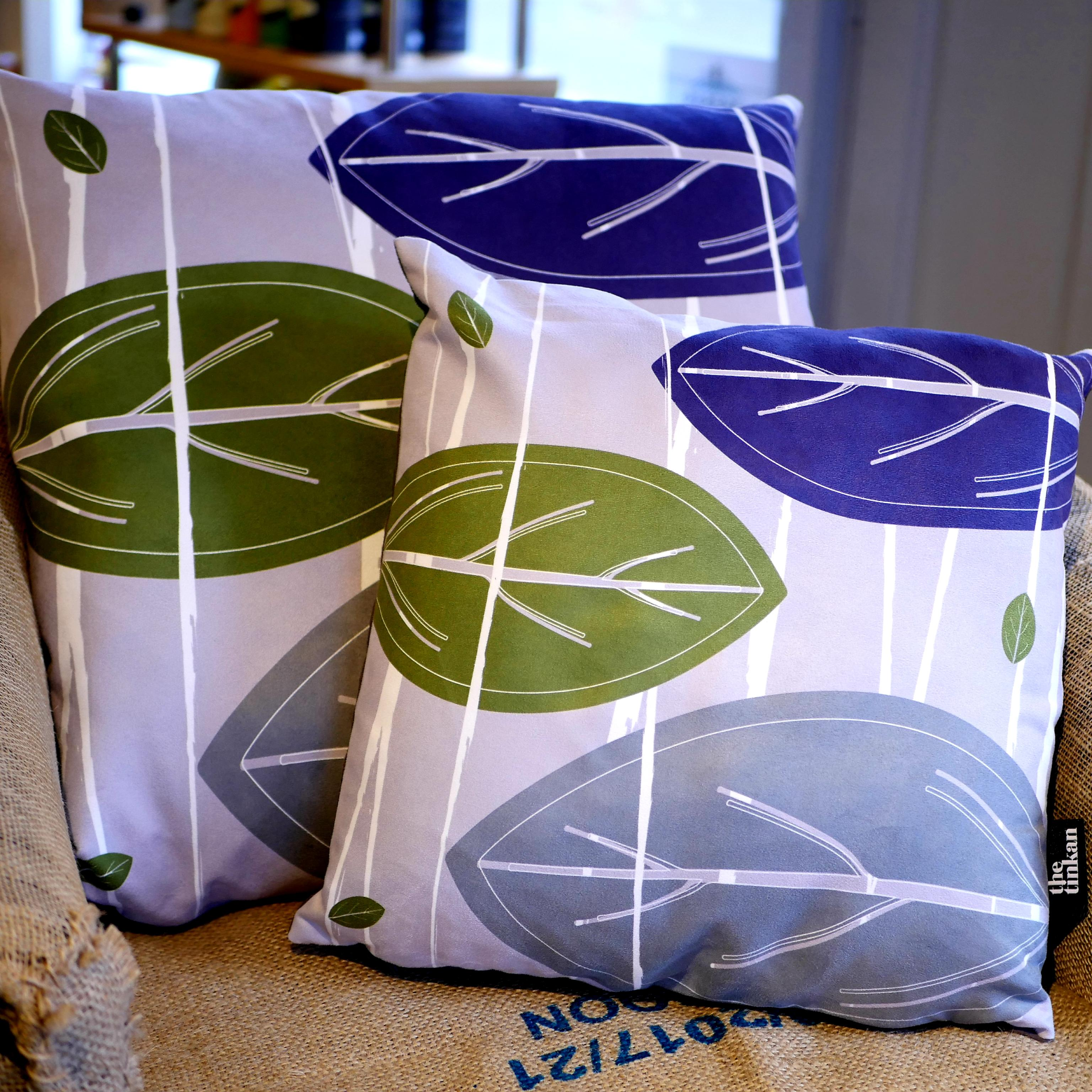 Purple, olive green & grey faux suede soft feel Abstract Leaves Cushions, 43cm & 57cm square, with luxury inner pads designed by thetinkan. VIEW PRODUCT >>