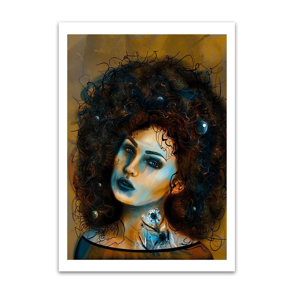 A digital painting called Art Posed 1 by Lily Bourne showing a female head with enormous curly hair and a white tattoo flower on her neck and decorations in her hair.