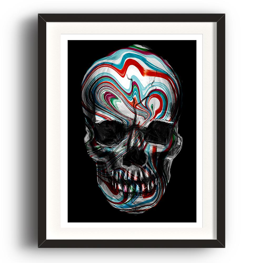 A digital painting called Skull Swirl by Lily Bourne is a human skull with red and blue painted swirls across it. The image is set in a black coloured picture frame.