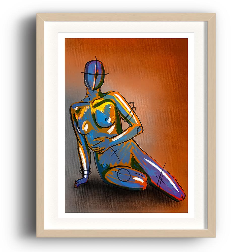 A digital painting called Naked Concept by Lily Bourne. A robotic figurine is sitting overlaid with yellow and lilac paint strokes. Orange and grey background. The image is set in a beech coloured picture frame.