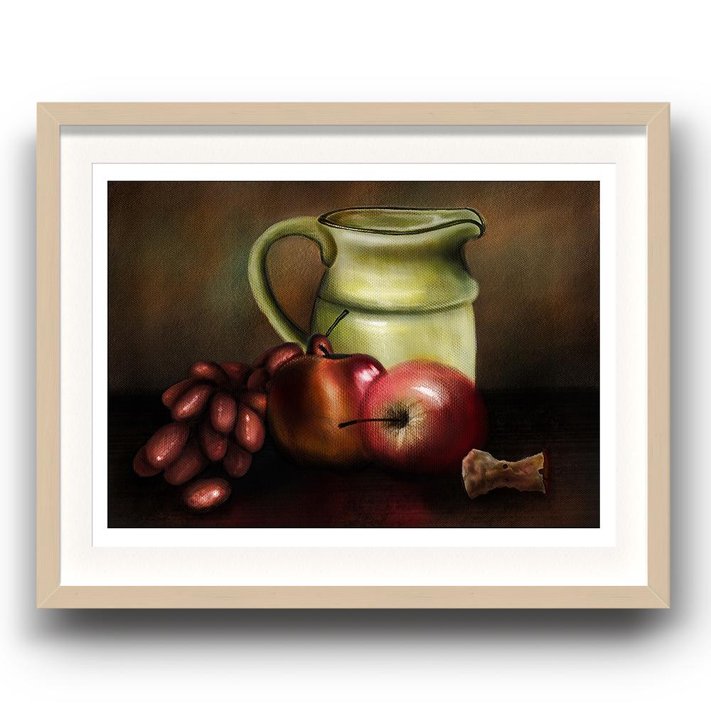 A digital painting called Still Life 1.0 by Lily Bourne showing a jug, a bunch of grapes and apples set on a table with an apple core. The image is set in a beech coloured picture frame.