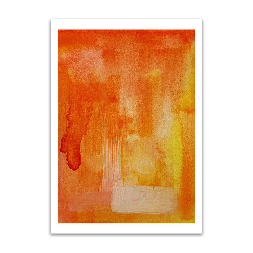A watercolour print by Clarrie-Anne on eco fine art paper titled A Better Tomorrow showing an orange wash with brushstrokes of a neutral colour.
