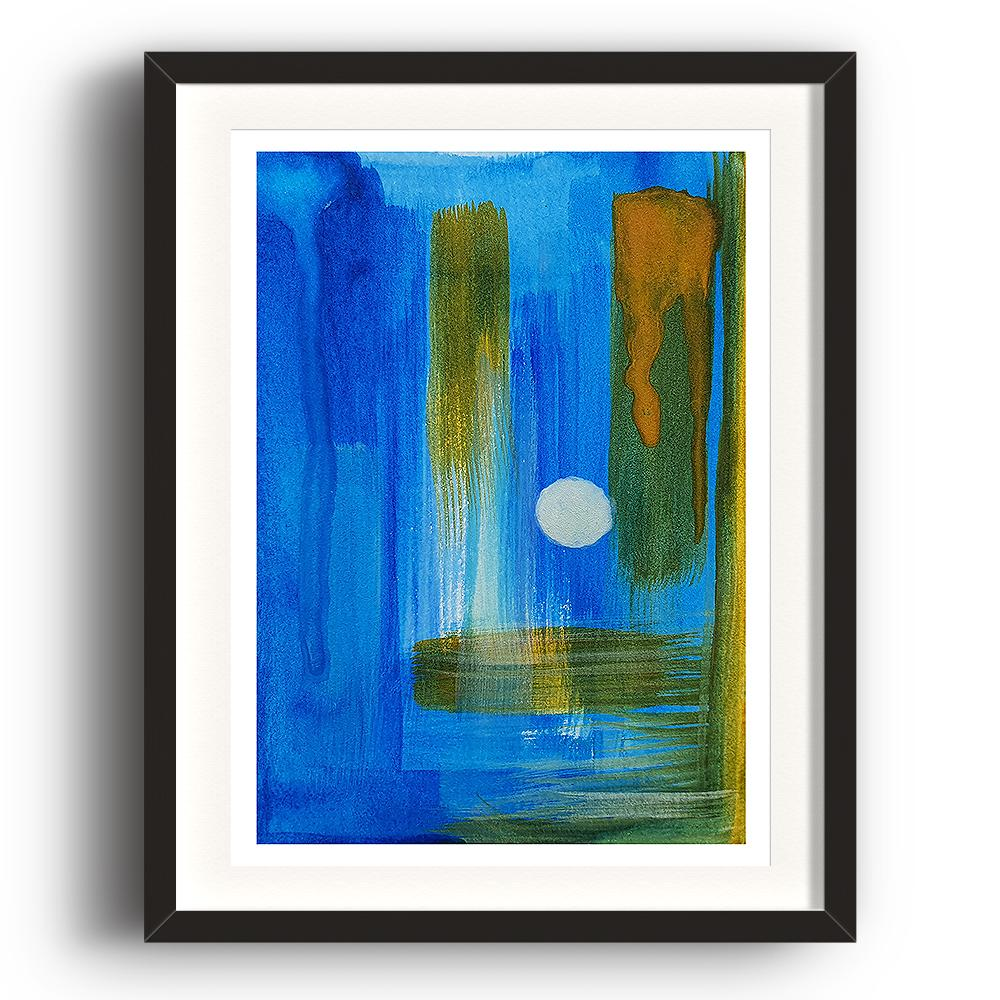 A watercolour print by Clarrie-Anne on eco fine art paper titled A Kinder Sea showing deep blue, green and yellow brushstrokes both vertical and horizontal giving depth to abstract painting. The image is set in a black coloured picture frame.