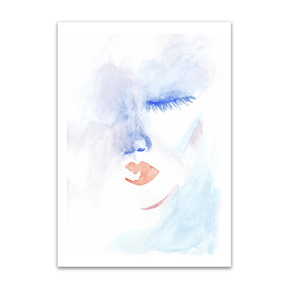 A watercolour print by Clarrie-Anne on eco fine art paper titled Admission showing half a female face with blue eye closed and red lips.