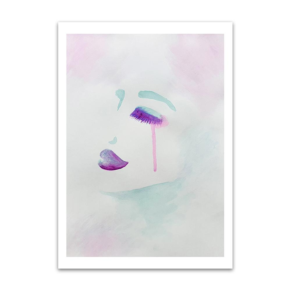 A watercolour print by Clarrie-Anne on eco fine art paper titled Exquisitely showing a female face from the side in watercolour purple and aqua green with a neutral colour wash background.