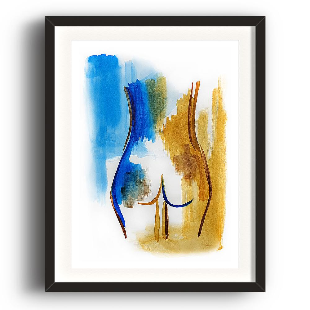 A watercolour print by Clarrie-Anne on eco fine art paper titled Innate showing the bottom of a female coloured blue and ochre. The image is set in a black coloured picture frame.