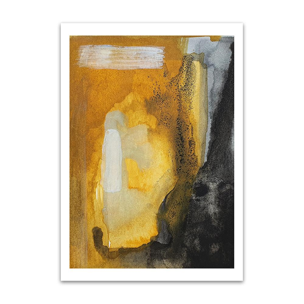 An abstract watercolour print by Clarrie-Anne on eco fine art paper titled Look Closer showing bold brush strokes and watercolour shapes in ochre and black.