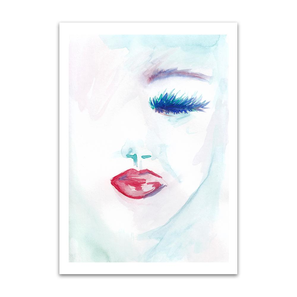 A watercolour print by Clarrie-Anne on eco fine art paper titled Melancholy showing a a female face with a closed blue eye and red lipstick.